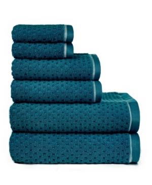 Image of American Dawn Central Park Studio Riley Textured Combed Cotton 6 Piece Bath Towel Set Bedding