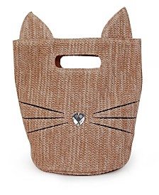 OMG! Accessories Kitty Mini Straw Bag