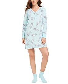 Cozy Fleece Waffle Knit Sleepshirt & Socks Set, Created for Macy's