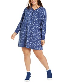 Plus Size Sleepshirt Nightgown & Socks Set, Created for Macy's