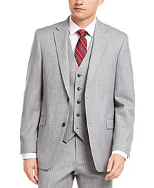 Men's Modern-Fit THFlex Stretch Gray/White Stripe Suit Separate Jacket