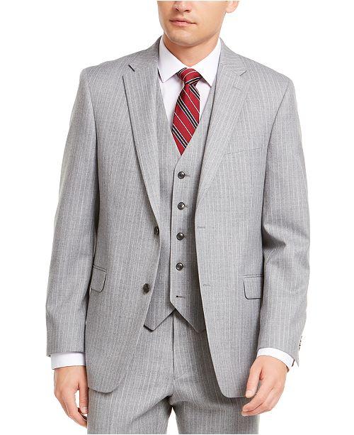 Tommy Hilfiger Men's Modern-Fit THFlex Stretch Gray/White Stripe Suit Separate Jacket