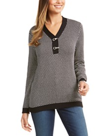 Karen Scott Contrast-Trim Textured Cotton Sweater, Created for Macy's