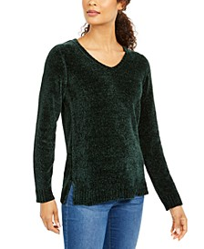 Petite V-Neck Chenille Sweater, Created For Macy's