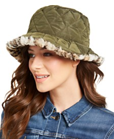 I.N.C. Reversible Quilting & Faux-Fur Bucket Hat, Created for Macy's