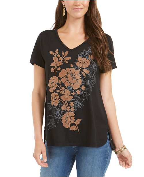 Style & Co Floral-Graphic High-Low Top, Created for Macy's