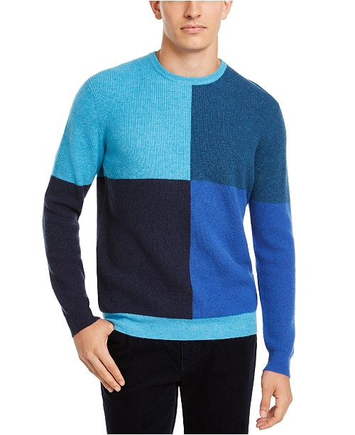 Club Room Men's Regular-Fit Colorblocked Cashmere Sweater, Created for Macy's