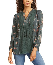 Floral Lace-Up Top, Created for Macy's