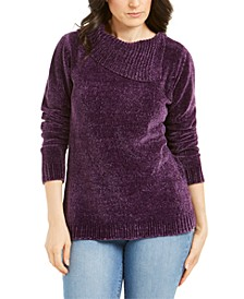 Petite Envelope-Neck Chenille Sweater, Created For Macy's