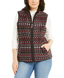 Sport Fairisle-Print Sherpa-Trim Vest, Created for Macy's