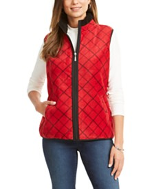 Karen Scott Printed Sherpa-Trim Vest, Created for Macy's