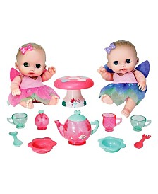 JC Toys, Lil' Cutesies Baby Play Dolls All-Vinyl 8.5 inch Twin Fairy Tea Gift Set - For Children 2 Years and older, Designed by Berenguer.
