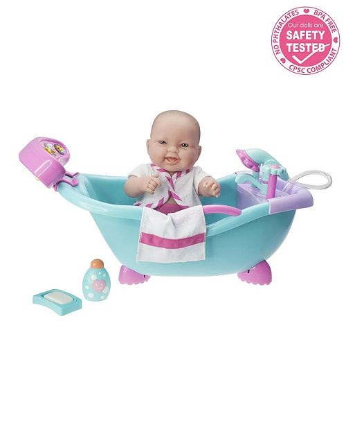 """JC TOYS Lots to Love Babies Doll Real Working Bathtub with Electronic Bath Sounds All Vinyl Water Friendly 14"""" Posable Doll - For Children 2 Years and older, Designed by Berenguer"""