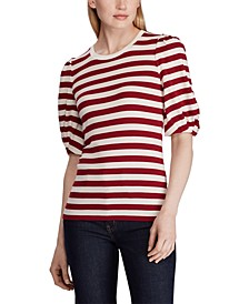 Stripe-Print Puff-Sleeve T-Shirt