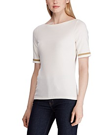 Boatneck Button-Trim Stretch Top