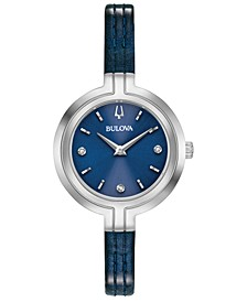 Women's Rhapsody Diamond-Accent Blue Patent Leather Strap Watch 30mm
