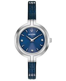 Bulova Women's Rhapsody Diamond-Accent Blue Patent Leather Strap Watch 30mm