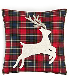 "Martha Stewart Collection Plaid Stag 18"" x 18"" Decorative Pillow, Created for Macy's"