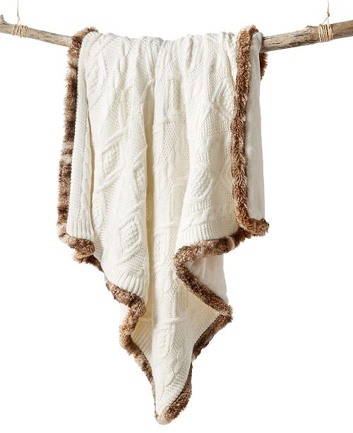 Martha Stewart Collection Sweater Knit Fur Throw, Created for Macy's