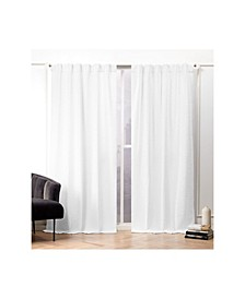 Textured Matelasse Hidden Tab Top Curtain Panel Pair