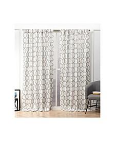 """Hexa Geometric Print Hidden Tab Top Curtain Panel Pair, 54"""" X 84"""""""