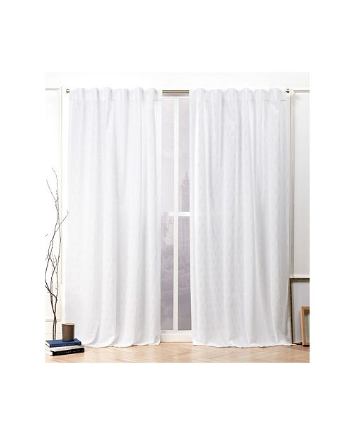 """Nicole Miller Tangled Ogee Embroidered Sheer Hidden Tab Top Curtain Panel Pair, 54"""" X 84"""""""