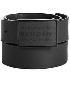 Men's Rubberized Leather Logo Belt