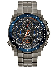Men's Chronograph Precisionist Gray Stainless Steel Bracelet Watch 46.5mm