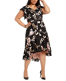 Plus Size Crochet-Trim High-Low Dress