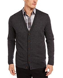 Men's Solid Merino Cardigan, Created for Macy's