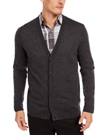 Tasso Elba Men's Solid Merino Cardigan, Created for Macy's