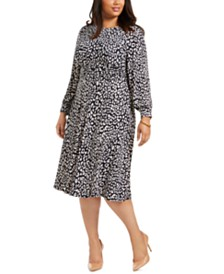 Jessica Howard Plus Size Printed Ruched-Waist Midi Dress