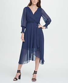 DKNY Smocked Cuff Georgette Midi Dress