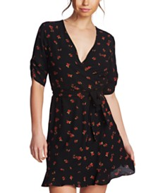 1.STATE Floral-Print Cinch-Sleeve Dress
