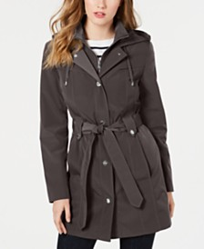 London Fog Front-Zip Hooded Trench Coat
