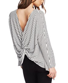 1.STATE Striped Twist-Back Top