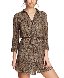 1.STATE Leopard Printed Button-Front Dress