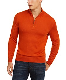 Men's 1/4-Zip Merino Wool Sweater, Created for Macy's