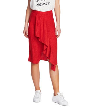 1.state Leopard Printed Ruffled Skirt