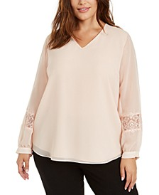 Plus Size Chiffon Lace-Trim Top