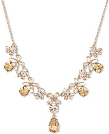 "Crystal Flower Statement Necklace, 16"" + 3"" extender"