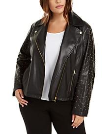 Plus Size Studded Moto Jacket