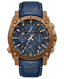 Men's Chronograph Precisionist Blue Leather Strap Watch 46.5mm