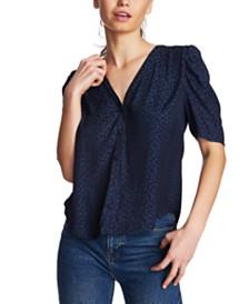 1.STATE Leopard-Print Puff-Sleeve Shirt