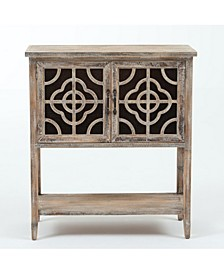 Rustic Wood and Metal Double Door Console Table