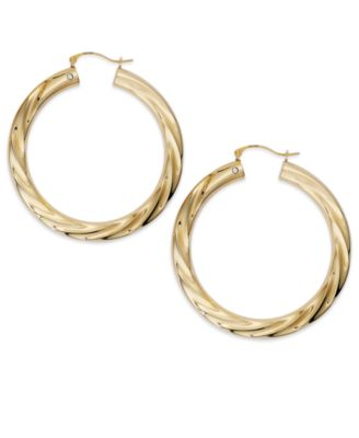 Signature Gold Diamond Accent Big Twist Hoop Earrings in 14k Gold