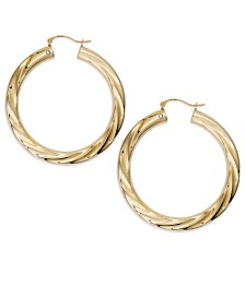Signature Gold™ Diamond Accent Big Twist Hoop Earrings in 14k Gold over Resin