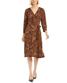 Leopard-Print Reversible Wrap Dress, Created for Macy's