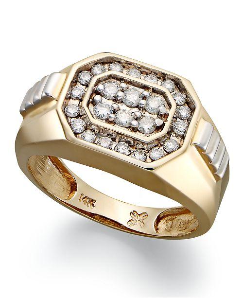 Macy's Men's Diamond Rectangle Ring in 14k Gold (1/2 ct. t.w.)