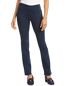 Petite Knit Denim Pull-On Straight-Leg Jeans, Created for Macy's